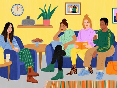 Comforting Care women bodil jane interior character editorial folioart digital illustration