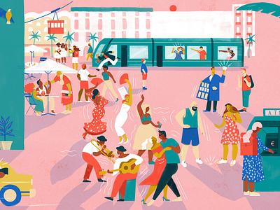 Field Guide culture olivia waller music travel city character editorial folioart digital illustration