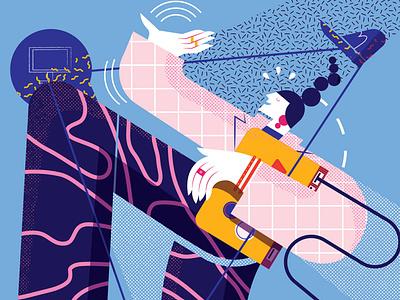 Connections maite franchi pattern editorial character folioart digital illustration