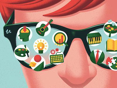 Udemy kouzou sakai texture education learning icons editorial folioart digital illustration