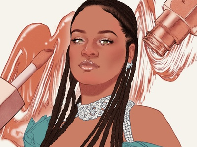Rihanna sarah maxwell celebrity portrait editorial folioart digital illustration
