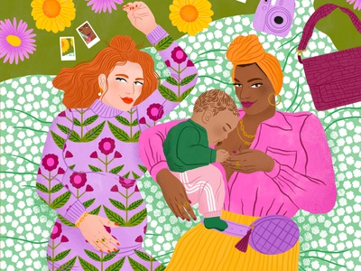 Parents bodil jane women pattern floral parenting editorial folioart digital illustration