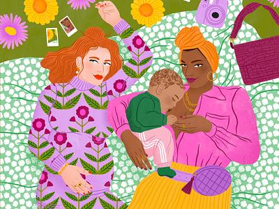 Parents bodil jane women pattern floral parenting editorial folioart digital illustration