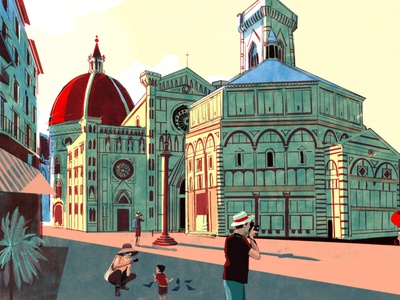Florence reportage alex green holiday architecture travel editorial folioart digital illustration