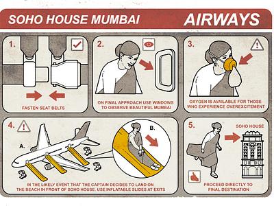 Safety Card son of alan diagram infographic travel flight humour line editorial folioart digital illustration