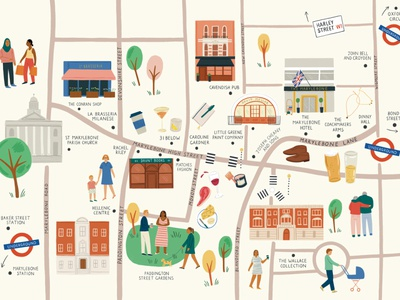 Marylebone Village procreate mural amelia flower london map folioart digital illustration
