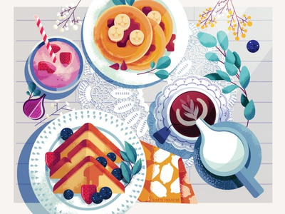 Breakfast editorial maite franchi texture food flatlay folioart digital illustration