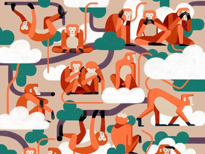 Monkeys xuetong wang character monkey animals pattern folioart digital illustration