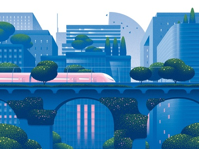 Future of the Subway transport buildings kouzou sakai futuristic cityscape texture editorial folioart digital illustration