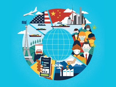 Global Economy infographic economy business muti cover editorial folioart digital illustration