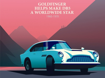 Bond car peter greenwood classic car vector landscape folioart digital illustration