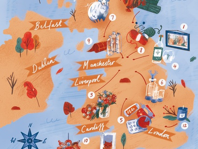 Isle of Creators autumn map landscape editorial folioart digital illustration