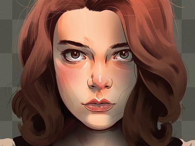 Queens Gambit realist alexander wells celebrity portrait character folioart digital illustration