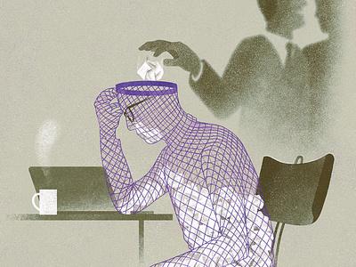 Bullying eleni debo business texture conceptual editorial folioart digital illustration