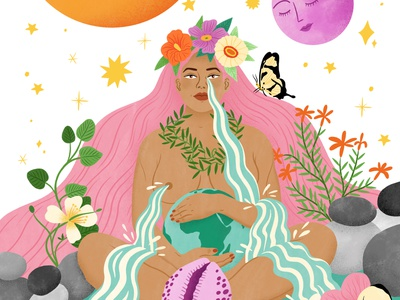 Mother Nature bodil jane spiritual nature woman female editorial folioart digital illustration