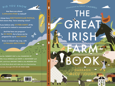 The Great Irish Farm Book childrens book book cover sally caulwell farm animals nature vector landscape folioart digital illustration