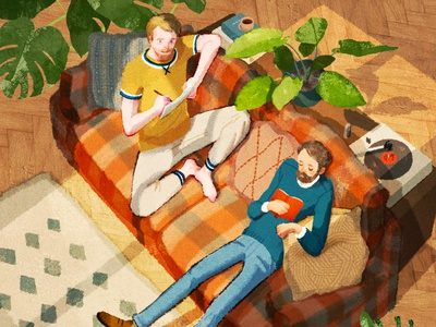 Flatmates retro texture hifumiyo interior plants home character folioart digital illustration