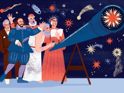 Conjunction olivia waller astronomy physics historical texture character editorial folioart digital illustration