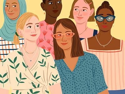 Women character amelia flower procreate folioart digital illustration fashion women portrait