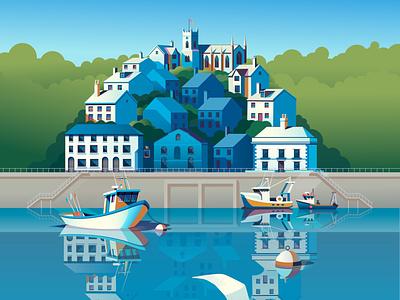 Quayside sign peter greenwood boats landscape vector folioart digital illustration