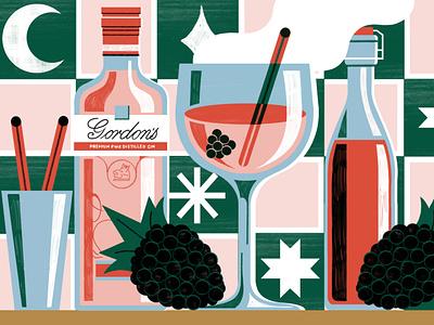 Gin cocktails michael driver drinks cocktails texture editorial folioart digital illustration