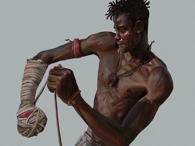 Fight men boxing portrait daniel clarke folioart digital illustration