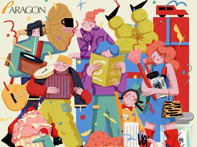 Shopping xuetong wang colourful character key visual folioart digital illustration