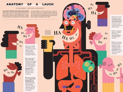 Laugh john devolle diagram infographic science medical anatomy humour editorial character folioart digital illustration