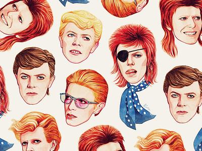 Bowie painting helen green folioart pattern portrait digital illustration