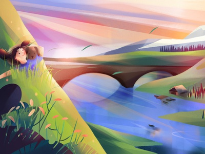 Golden Hour jia-yi liu nature gradient dog character landscape folioart digital illustration