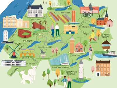 Regional landmarks amelia flower people buildings map advertising folioart digital illustration