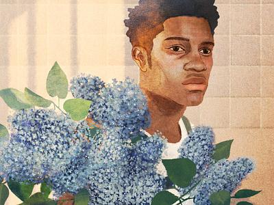Floral Portraits hifumiyo portraits floral retro texture folioart digital illustration