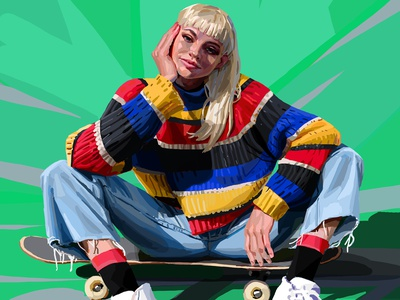 Skater daniel clarke digital painting style fashion portrait character editorial folioart digital illustration