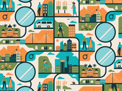 Eyesight muti pattern city character vector editorial folioart digital illustration