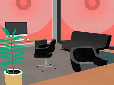 Looming large conceptual billy clark corporate office print folioart digital illustration