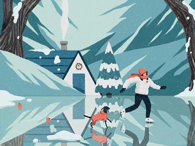 Winter xuetong wang dog winter landscape character folioart digital illustration