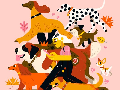 Dog Walker owen davey dogs character editorial folioart digital illustration
