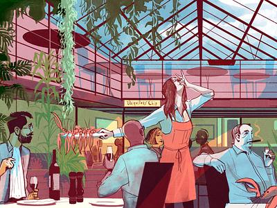 Ubiquitous Chippy character alex green people food restaurant folioart editorial digital illustration