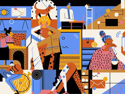 Why We Work geometric pattern maite franchi work character editorial folioart digital illustration