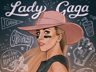 Lady Gaga editorial helen green celebrity typography portrait folioart digital illustration
