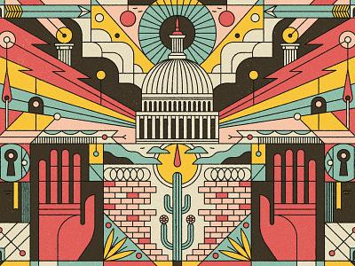 America muti politics graphic line texture editorial folioart digital illustration