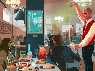 El Rincon de Rafa alex green people interior food restaurant editorial folioart digital illustration