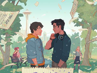 Jay's Gay Agenda lgbt publishing book cover landscape character folioart digital illustration