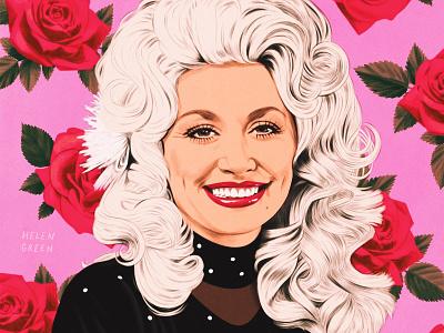 Dolly Parton helen green celebrity floral realist portrait folioart digital illustration