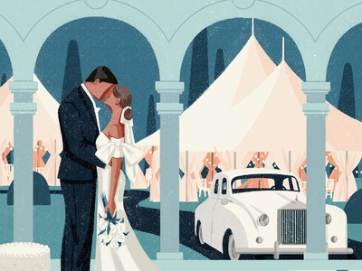 Wedding car xuetong wang couple wedding texture folioart digital illustration