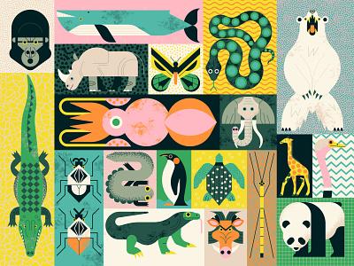 Animal Giants texture owen davey nature pattern puzzle animals folioart digital illustration