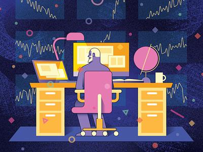 Zooniverse office desk astronomy science vector editorial folioart digital illustration