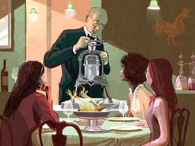 Otto's alex green restaurant food character editorial folioart digital illustration