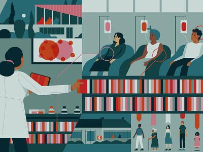 Cancer Care science doctor medical muti vector editorial folioart digital illustration