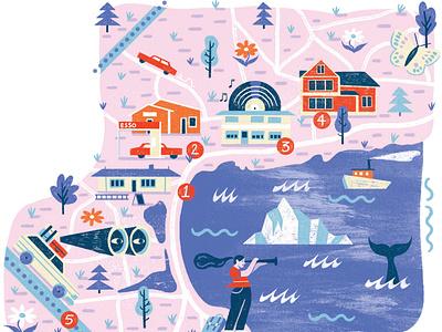 Carbonear travel canada map editorial folioart digital illustration